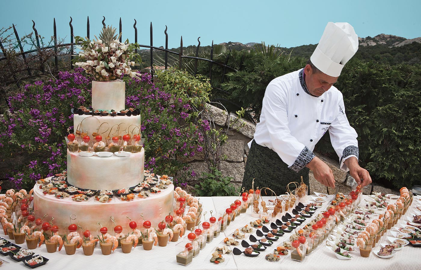 Many culinary delights cooked by our chef for your wedding in Sardinia